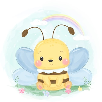 Ilustração de abelha bonito estilo aquarela