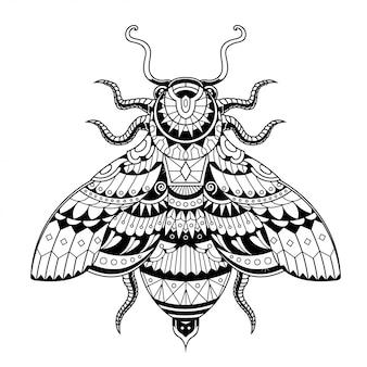 Ilustração de abelha, zentangle de mandala e design de tshirt
