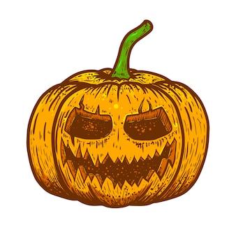 Ilustração de abóbora assustadora de halloween em fundo branco. elemento para cartaz, cartão, banner, panfleto. ilustração