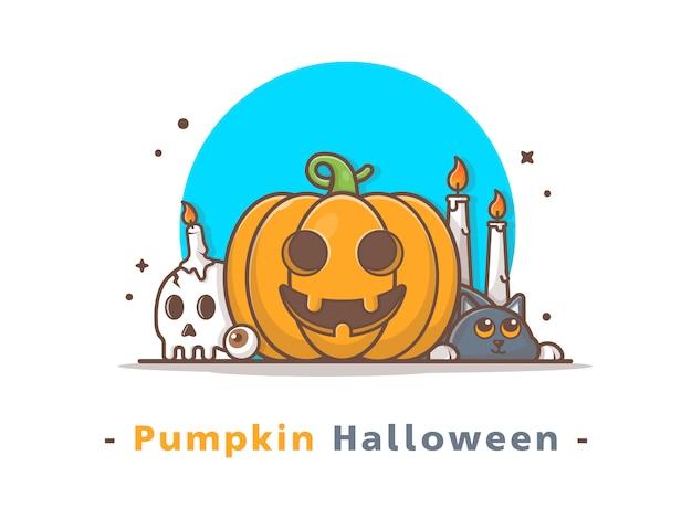 Ilustração de abóbora de halloween bonito