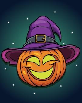 Ilustração de abóbora de halloween com desenho de chapéu de assistente.