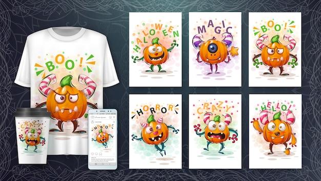 Ilustração de abóbora fofa e merchandising