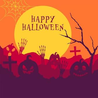 Ilustração de abóboras assustadoras com mãos de esqueleto, árvore nua e cemitério no fundo da lua cheia para a celebração do feliz dia das bruxas.