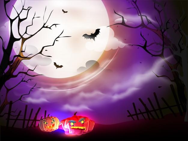 Ilustração de abóboras assustadores e morcegos voando na opinião de noite de floresta roxa de lua cheia.