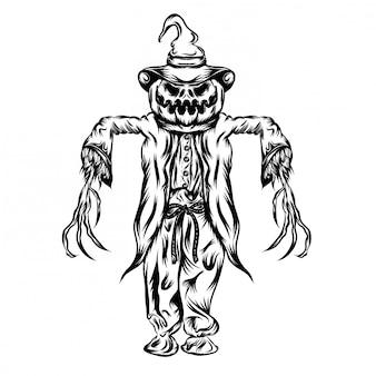 Ilustração de abóboras com fantasia de terror