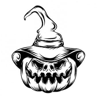 Ilustração de abóboras com grande sorriso e sorriso cônico