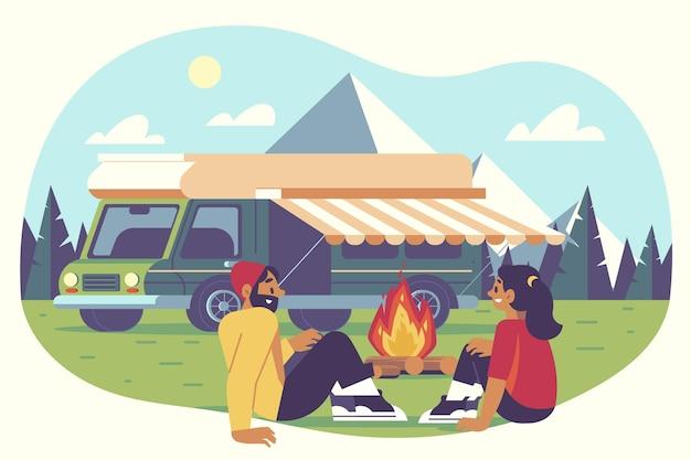 Ilustração de acampamento com caravana com casal