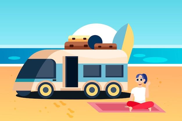 Ilustração de acampamento com caravana e mulher
