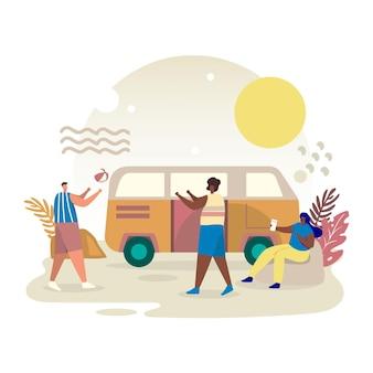 Ilustração de acampamento com caravana e pessoas