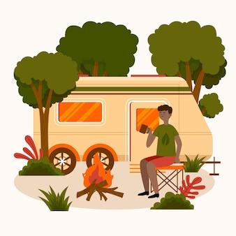 Ilustração de acampamento com caravana