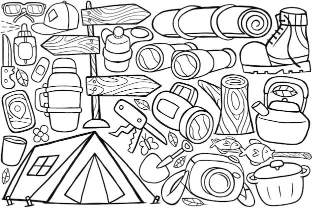 Ilustração de acampamento de doodle em estilo cartoon