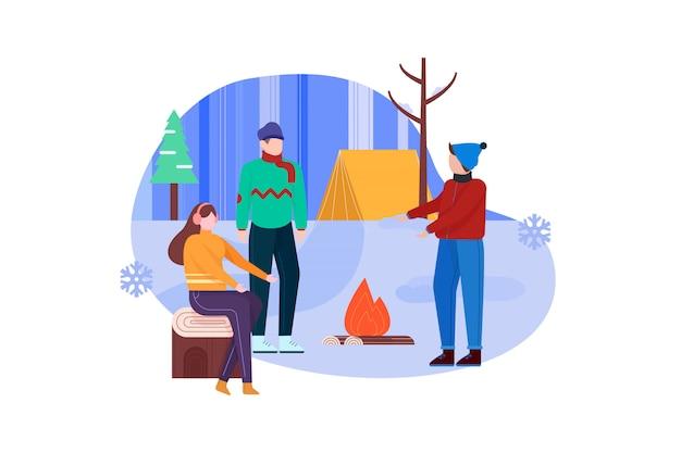 Ilustração de acampamento de férias de inverno