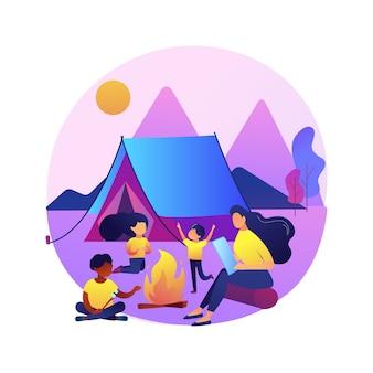 Ilustração de acampamento de verão para crianças