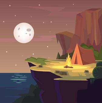 Ilustração de acampamento na floresta