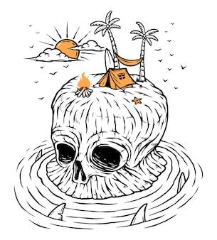 Ilustração de acampamento na ilha do crânio