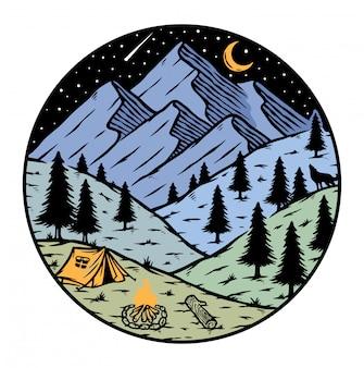 Ilustração de acampamento nas montanhas à noite