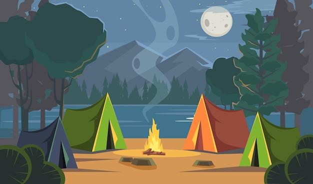 Ilustração de acampamento noturno