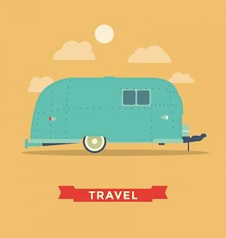 Ilustração de acampamento trailer