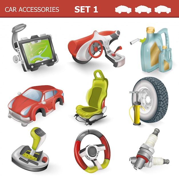 Ilustração de acessórios de carro