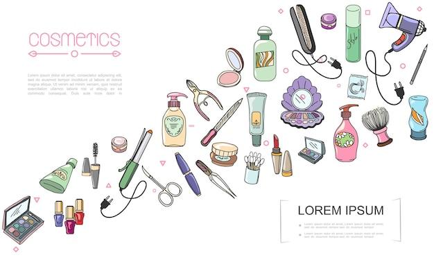 Ilustração de acessórios de maquiagem desenhada à mão