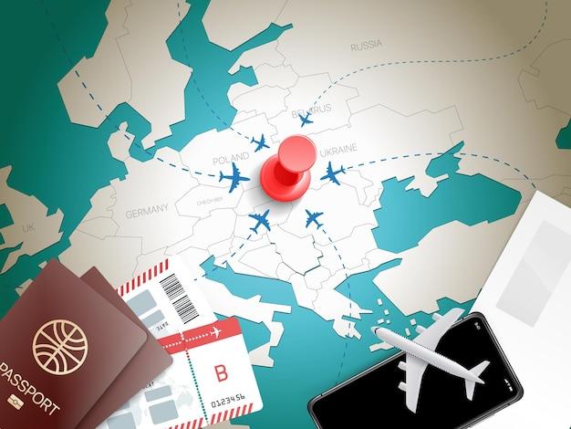 Ilustração de acessórios de viagem. conceito de férias