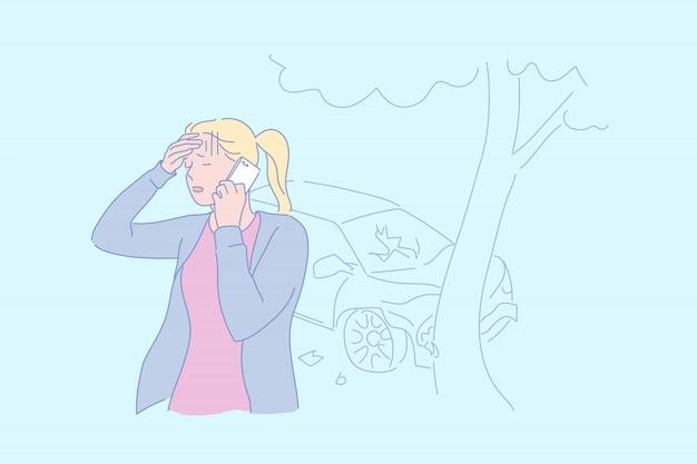 Ilustração de acidente de trânsito
