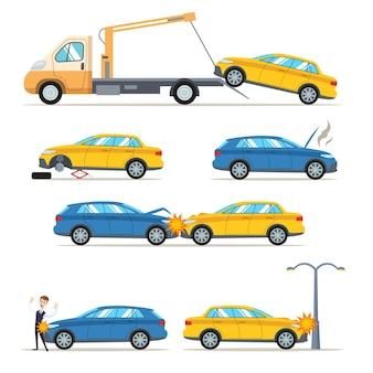 Ilustração de acidentes de carro e colisões na estrada