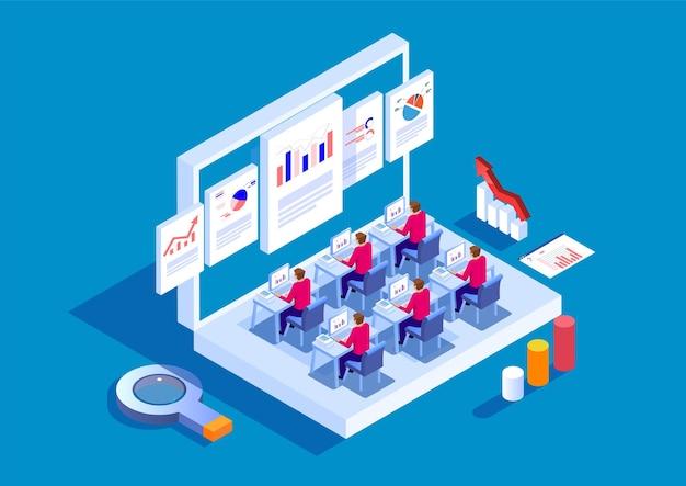 Ilustração de ações de aprendizagem de finanças empresariais e treinamento on-line