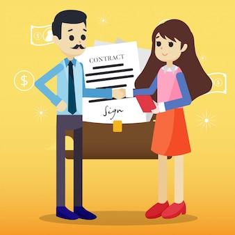Ilustração de acordo de parceiro