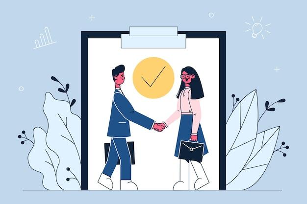 Ilustração de acordo de parceria