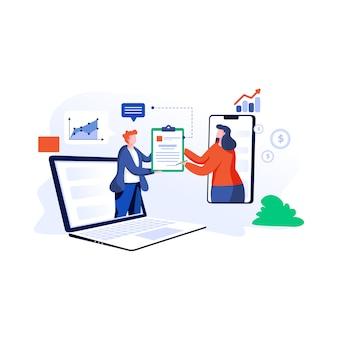 Ilustração de acordo on-line em estilo simples