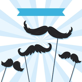 Ilustração de adereços de bigodes