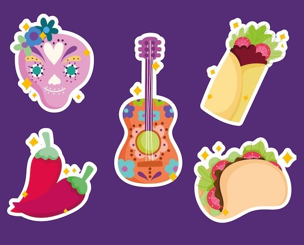 Ilustração de adesivo de guitarra mexicana de caveira de açúcar e ícones tradicionais de cultura alimentar