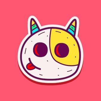 Ilustração de adesivo de monstro de doodle