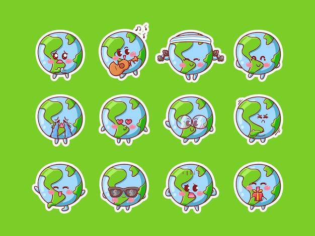 Ilustração de adesivo de personagem de terra fofa definida com várias atividades e expressão feliz para mascote