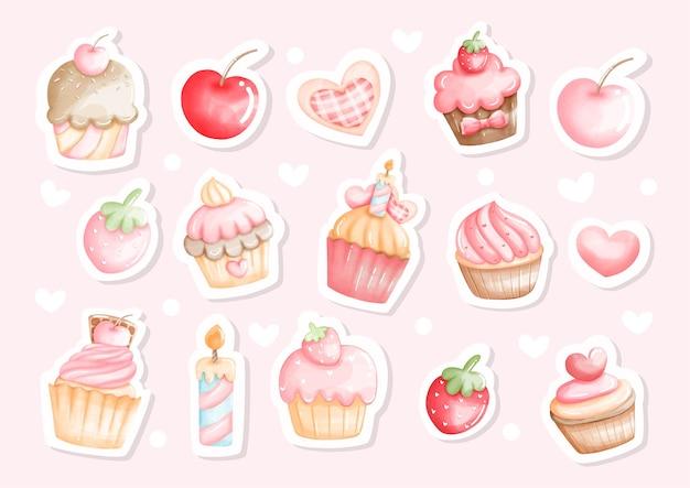 Ilustração de adesivo em aquarela de cupcake
