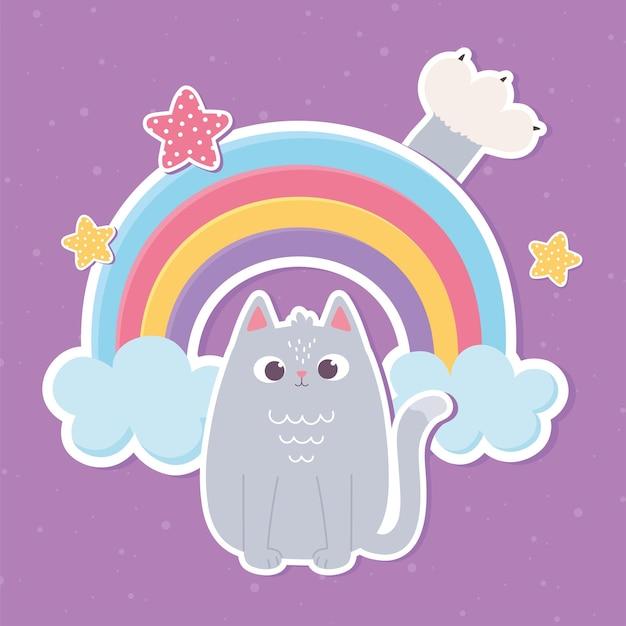 Ilustração de adesivo estilo desenho animado gato fofo animal de estimação decoração de arco-íris