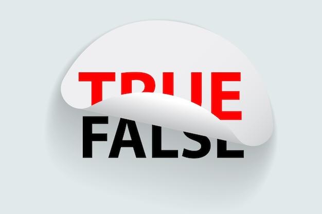 Ilustração de adesivo verdadeiro e falso Vetor Premium