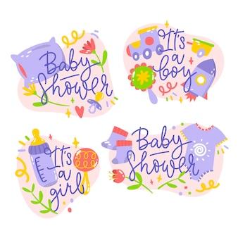Ilustração de adesivos de chá de bebê desenhados à mão