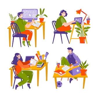 Ilustração de adesivos de educação desenhada à mão