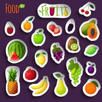 Ilustração de adesivos de frutas frescas