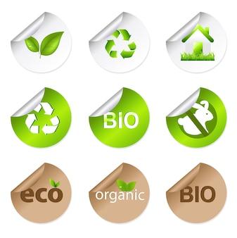 Ilustração de adesivos ecológicos isolada