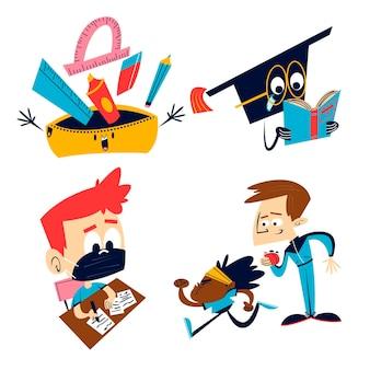 Ilustração de adesivos educacionais em desenhos animados retrô