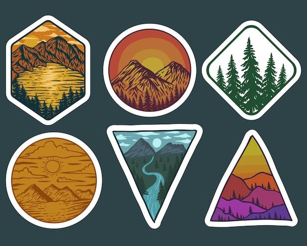 Ilustração de adesivos retrô de paisagem de aventura