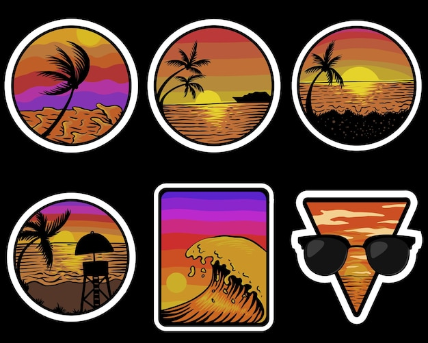 Ilustração de adesivos retro do pôr do sol na praia