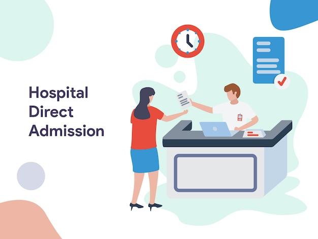 Ilustração de admissão direta de hospital