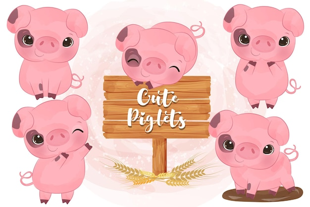 Ilustração de adorável conjunto de porquinhos