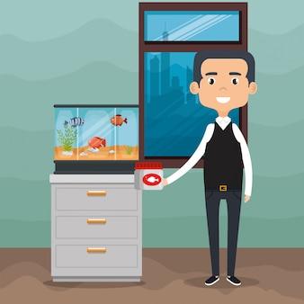 Ilustração de adulto com peixes no aquário