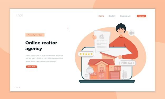 Ilustração de agência imobiliária no conceito de página de destino