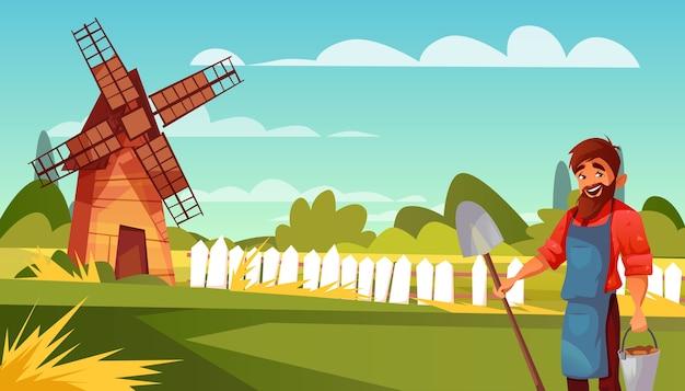 Ilustração de agricultor ou camponês de homem com pá e balde de colheita.